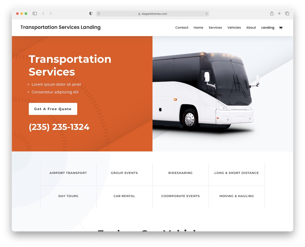 divi transportation logistics wordpress theme