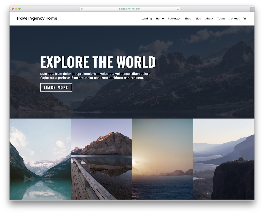 divi travel website template