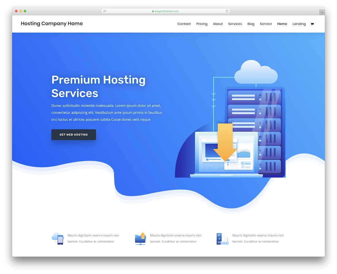divi web hosting website template