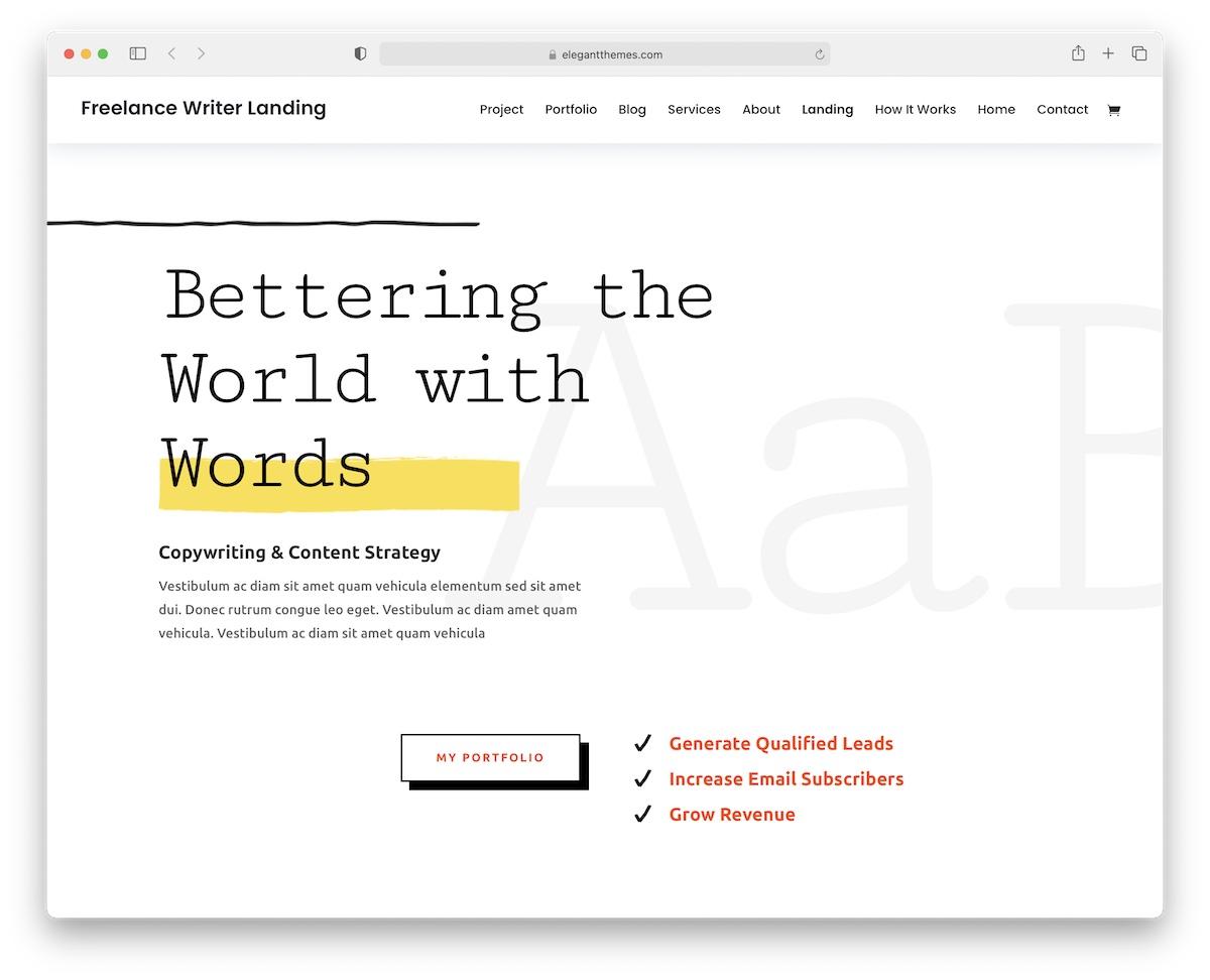 divi wordpress theme for writers