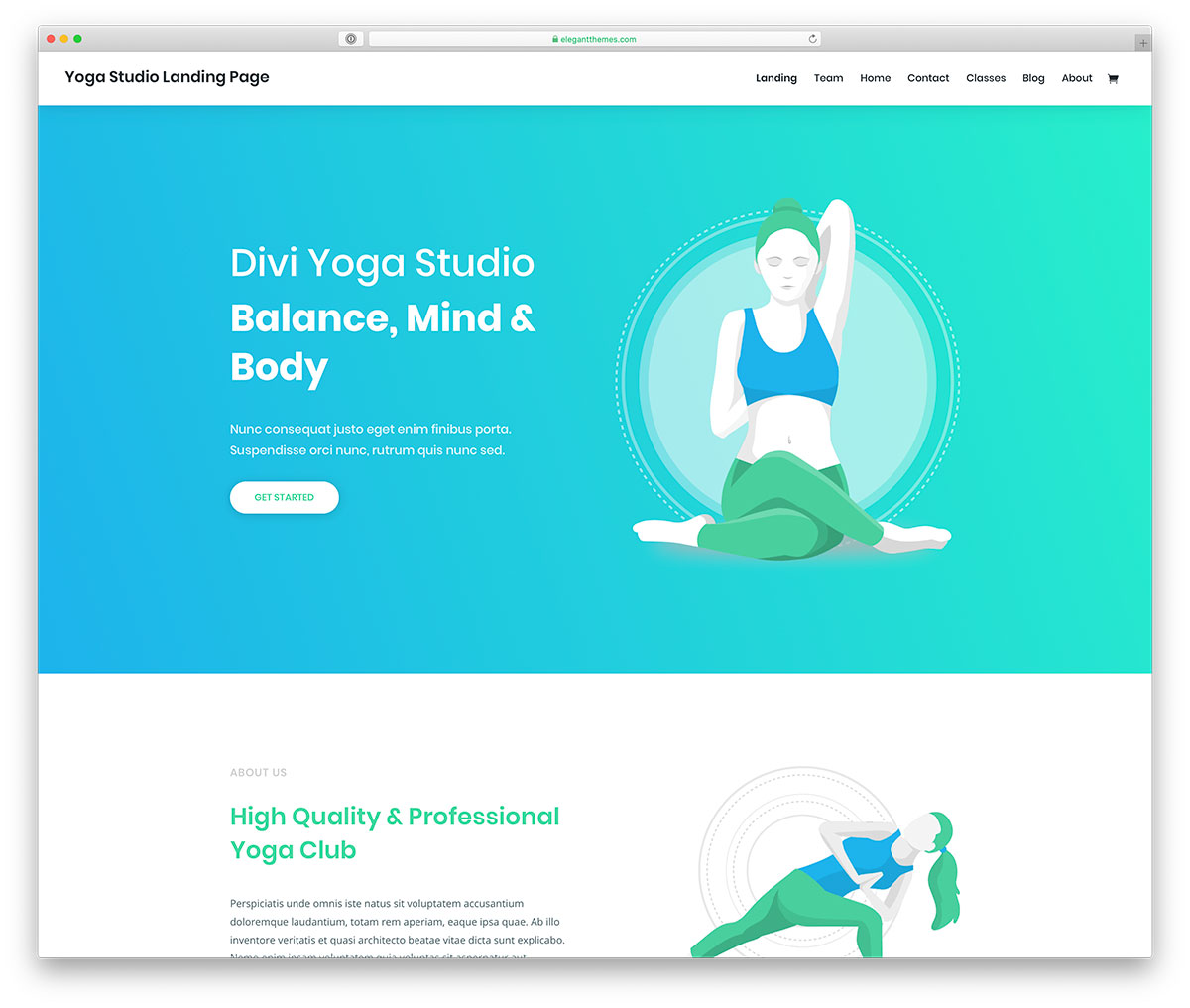 Divi - yoga and fitness website design for WordPress