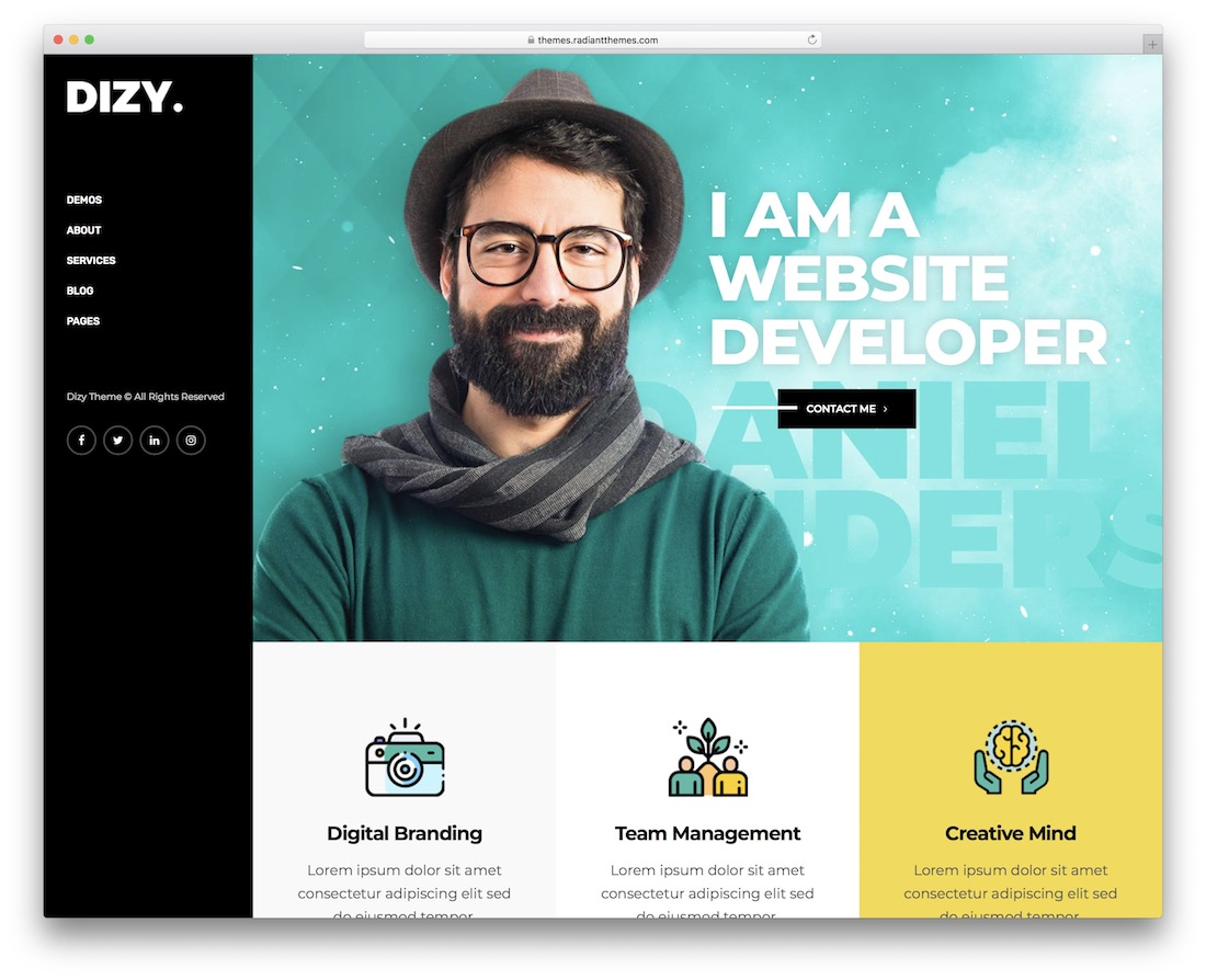 dizy awesome wordpress portfolio theme