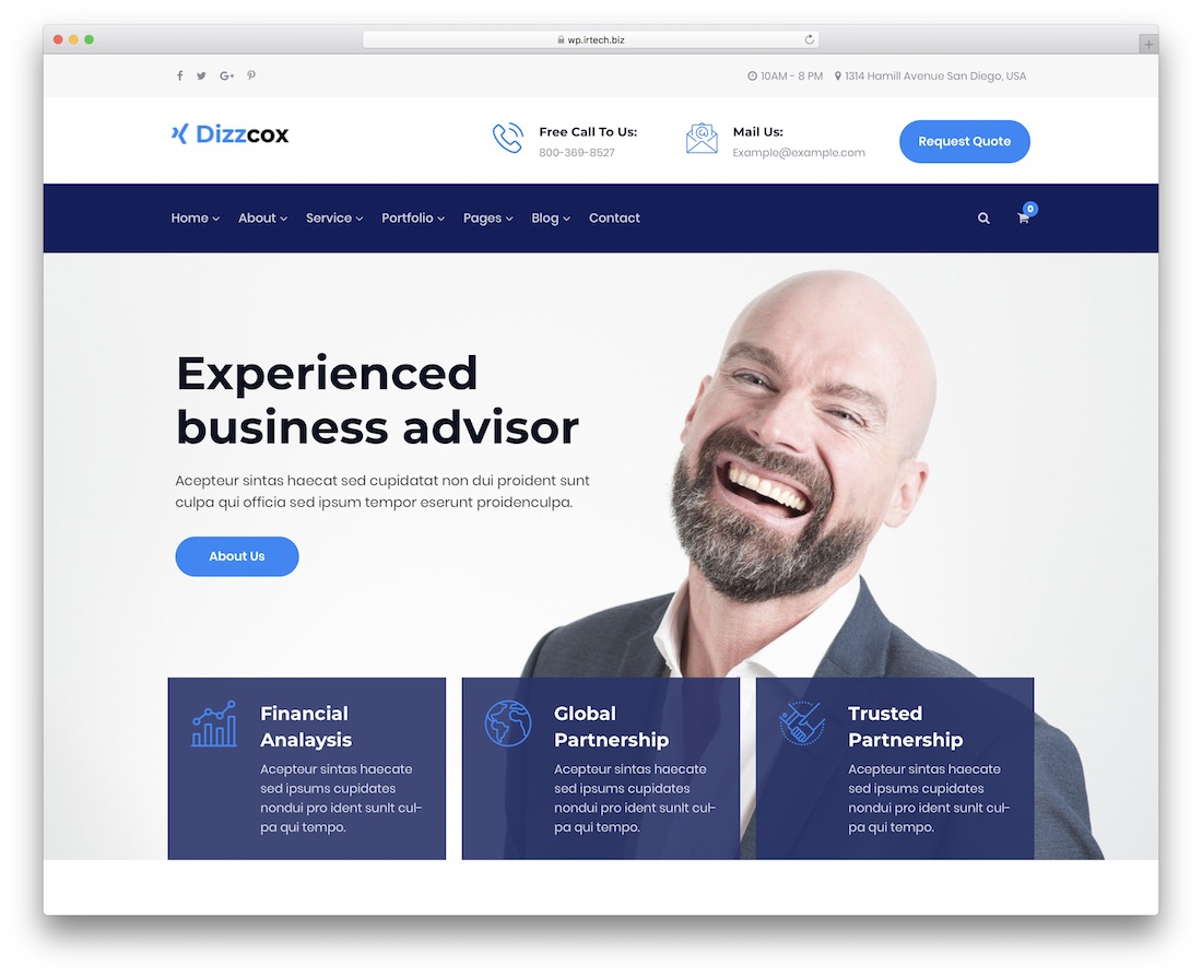 dizzcox financial website template