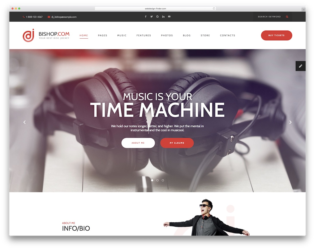 dj bishop bootstrap music template