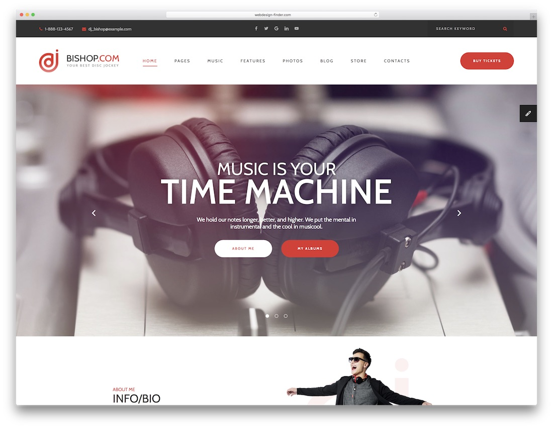 dj bishop music website template