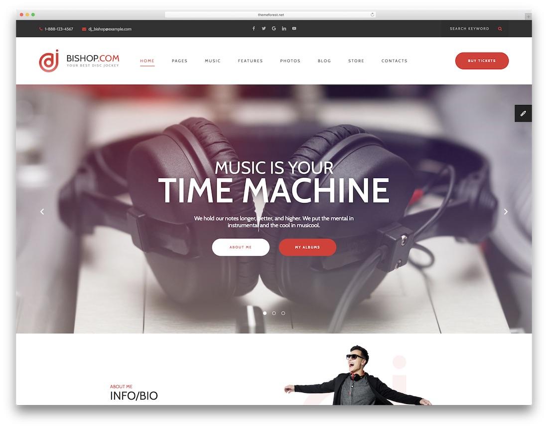 dj bishop musician website template