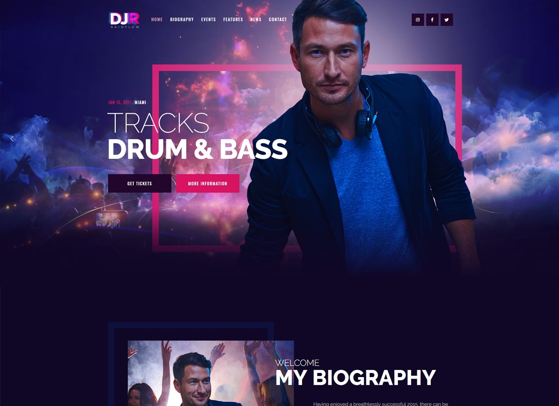DJ Rainflow - A Music Band & Musician WordPress Theme