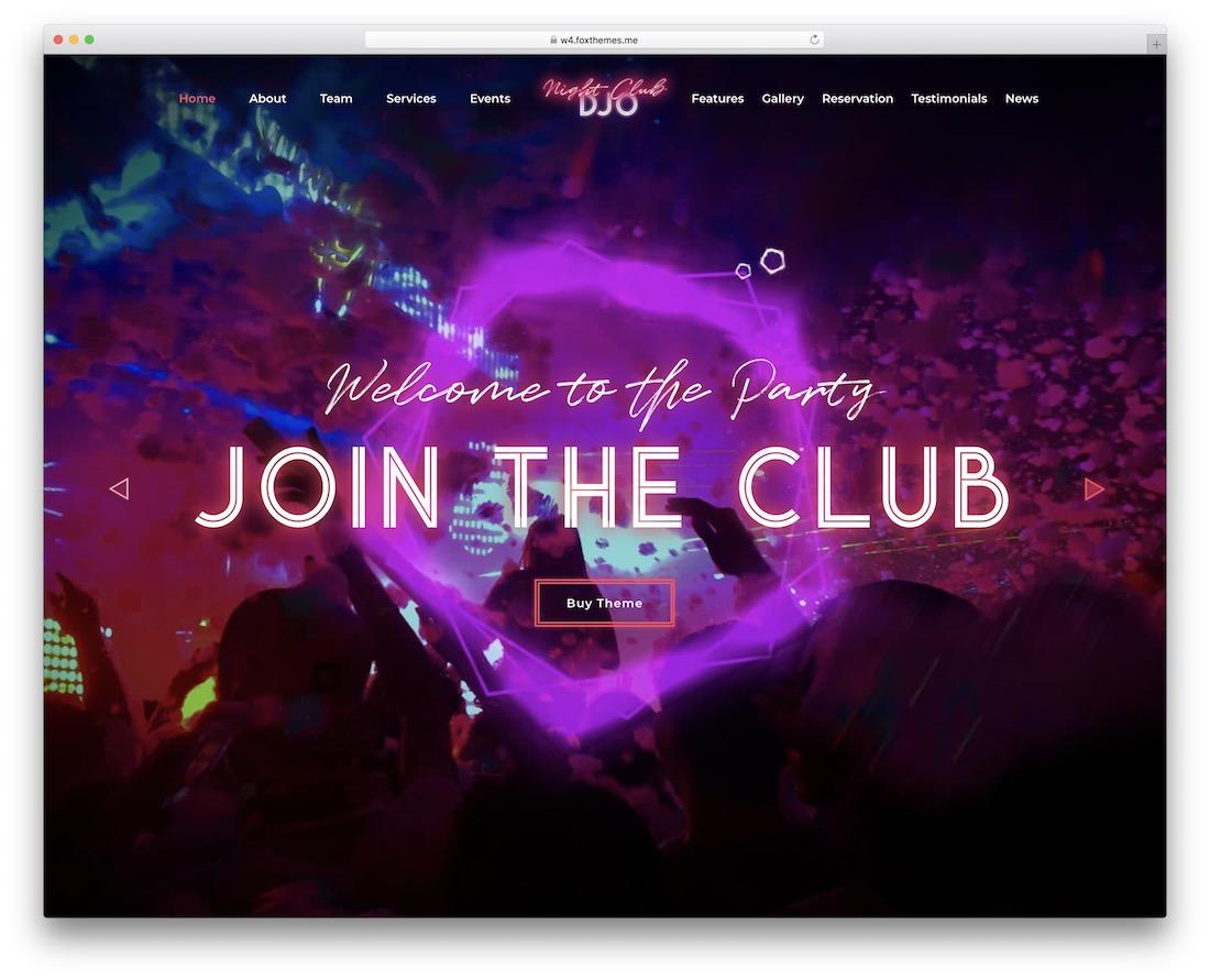 djo wordpress nightclub theme