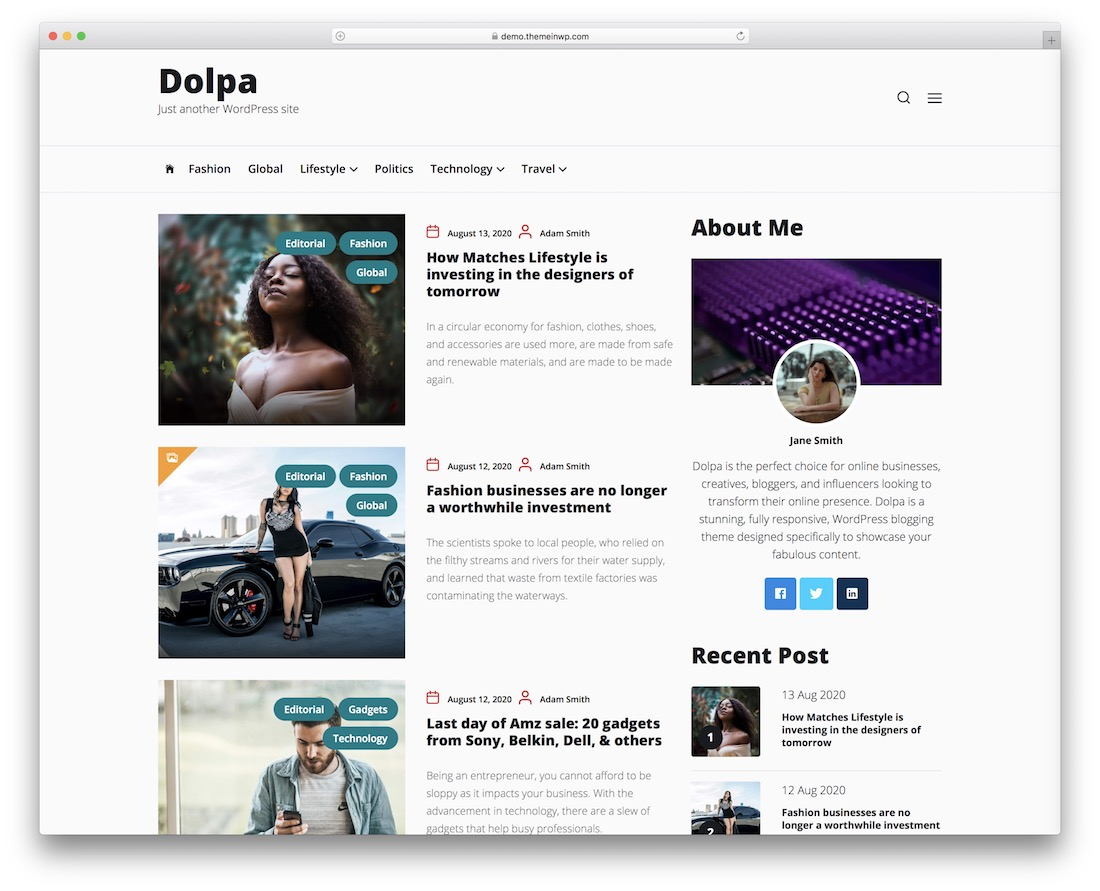dolpa free responsive wordpress theme