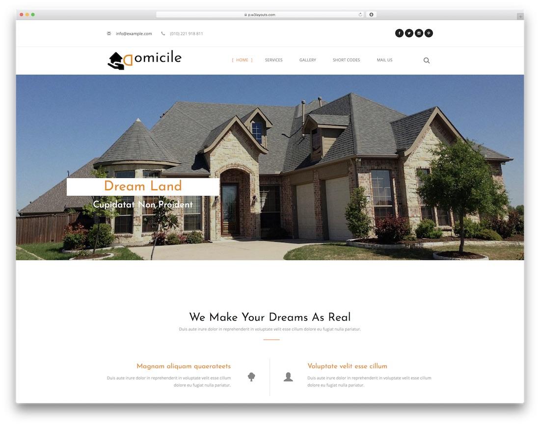 domicile free construction website template