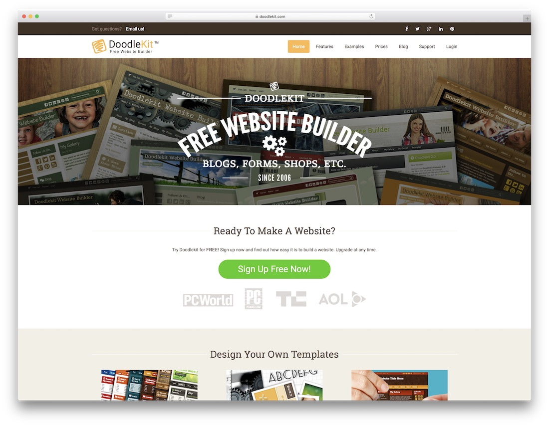 doodlekit free website builder and hosting