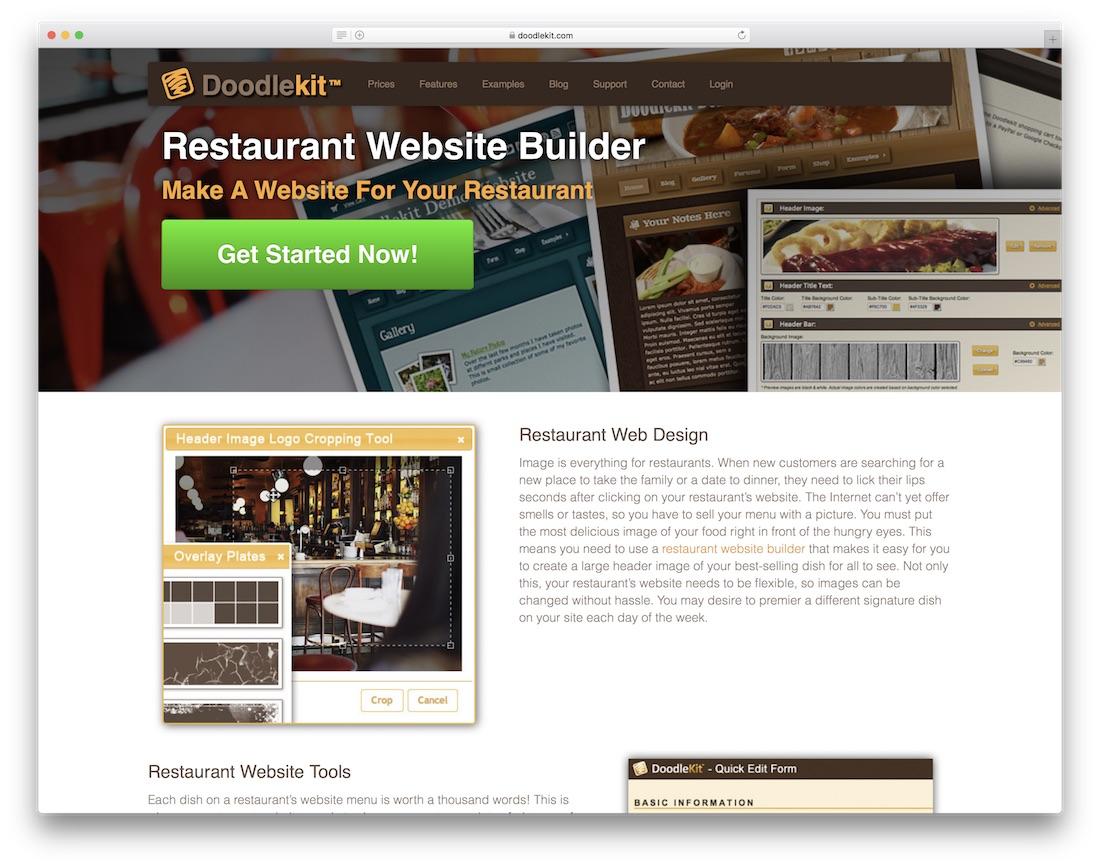 doodlekit restaurant website builder