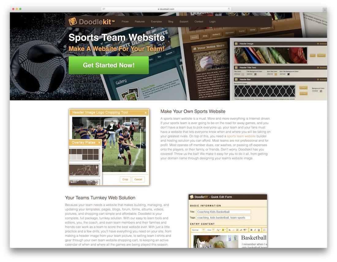 doodlekit sports website builder
