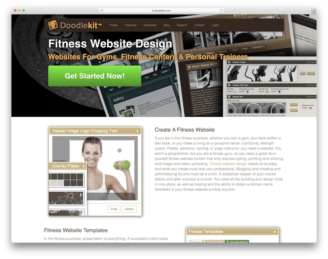 doodlekit website builder for gym