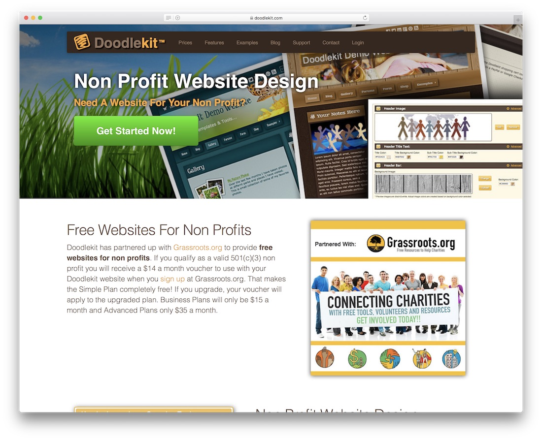 doodlekit website builder for non-profit organizations