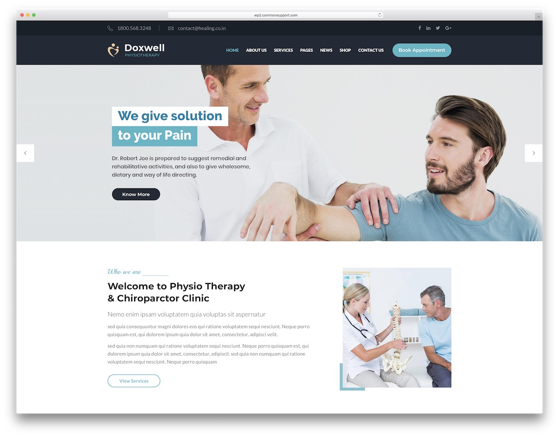 doxwell physiotherapy chiropractor wordpress theme