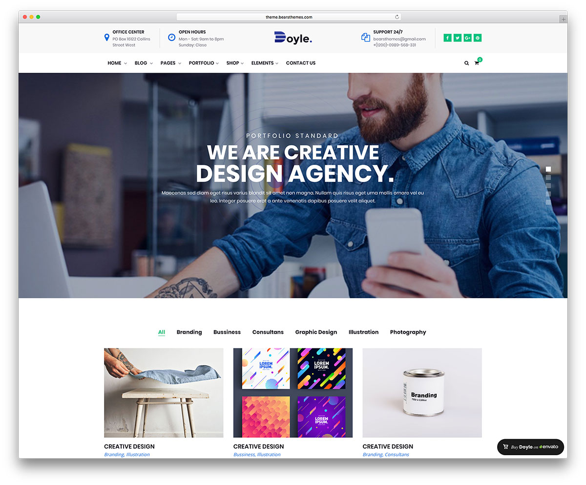 c270154bfa4fe Doyle is a powerful WordPress theme made to approach website building as a  fun and freeing task. It is inclined to professional purposes due to its ...
