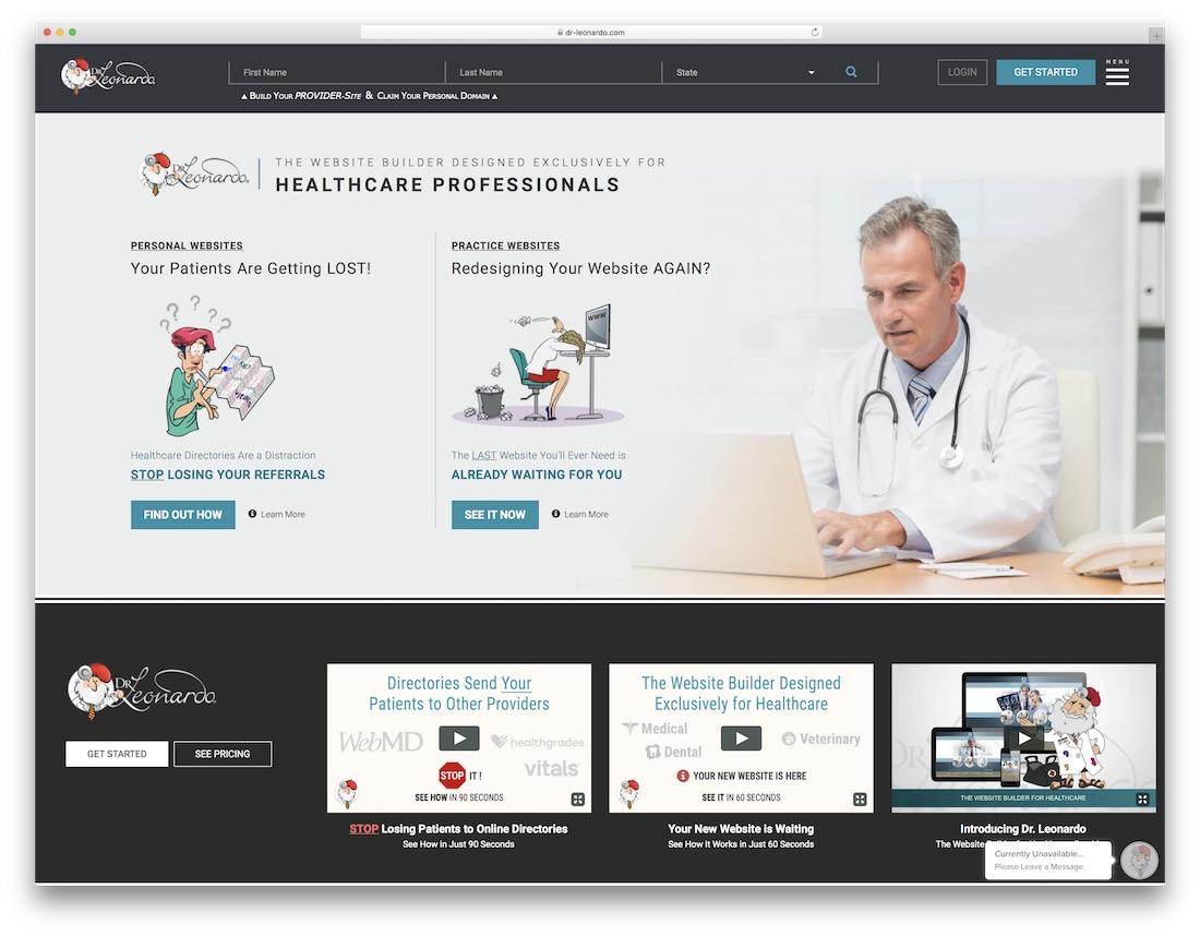 dr leonardo medical website builder