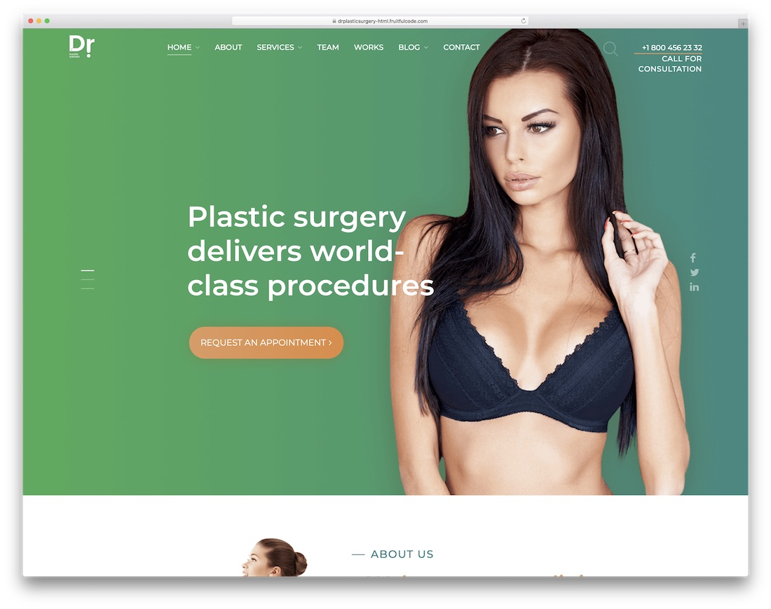 dr plastic surgery doctor website template