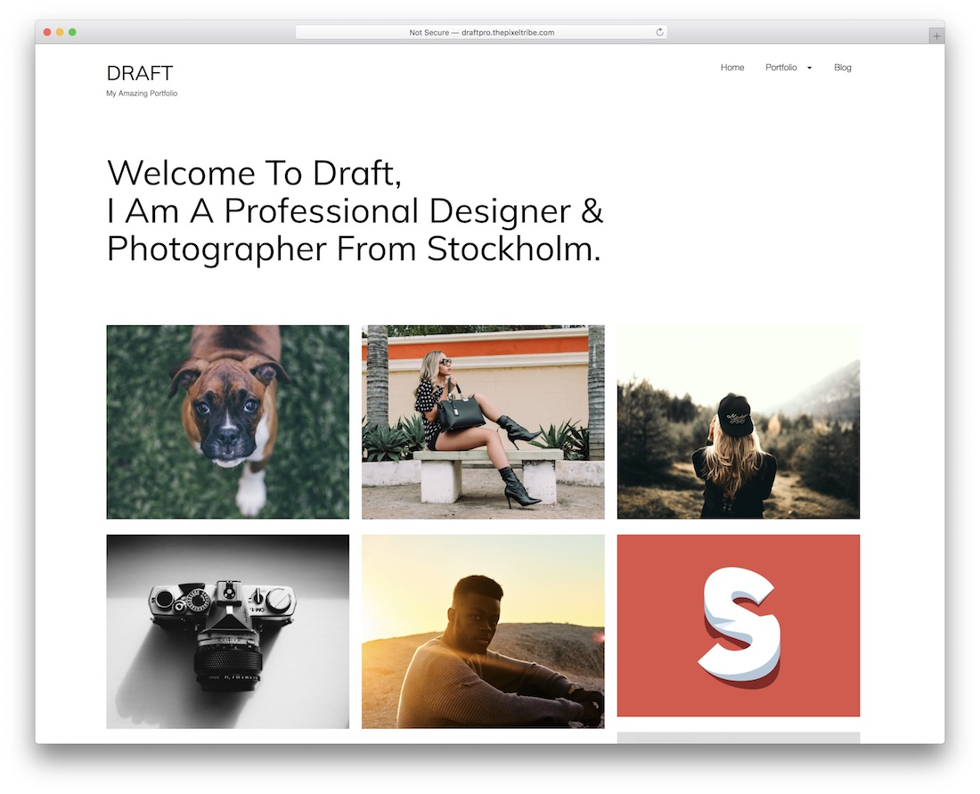 draft portfolio free wordpress theme