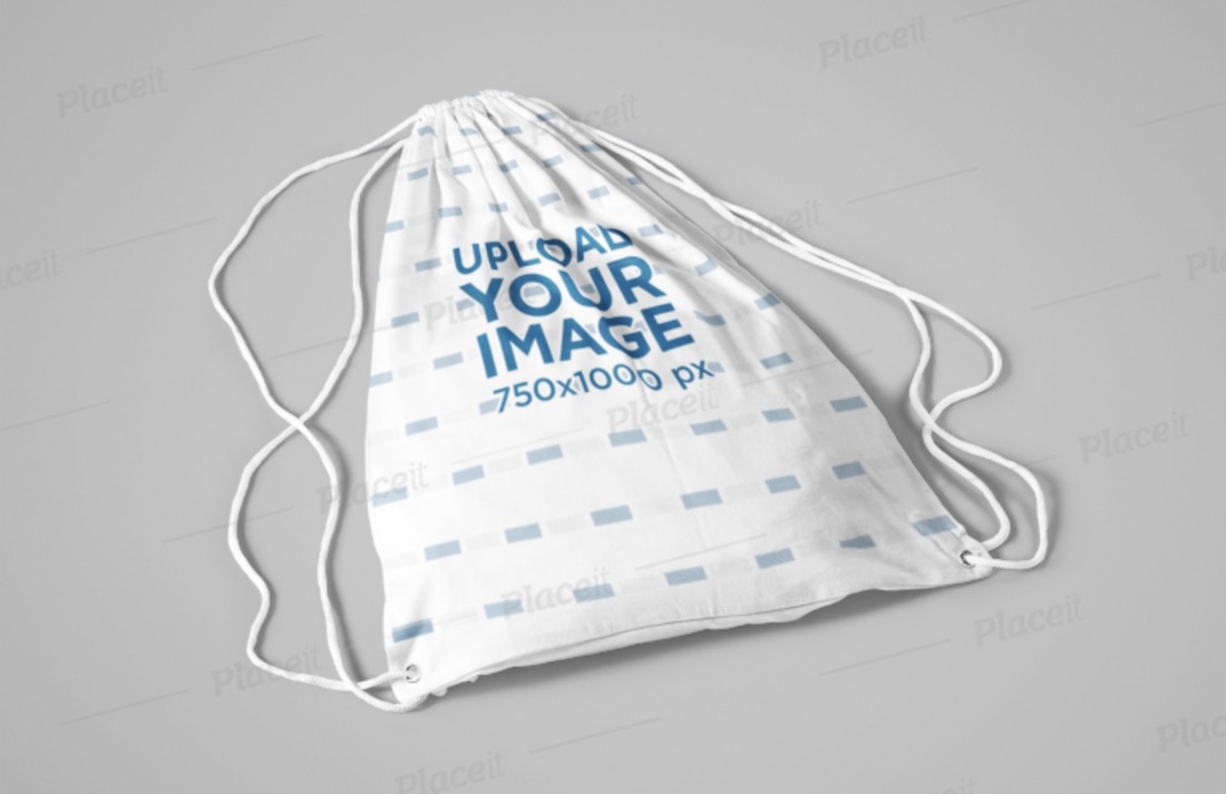 drawstring bag mockup lying on a flat surface