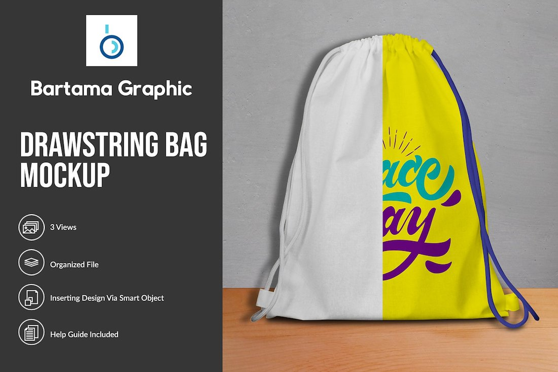 drawstring bag psd mockup