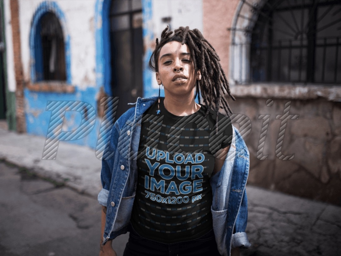 dreadlocked girl wearing a black t-shirt