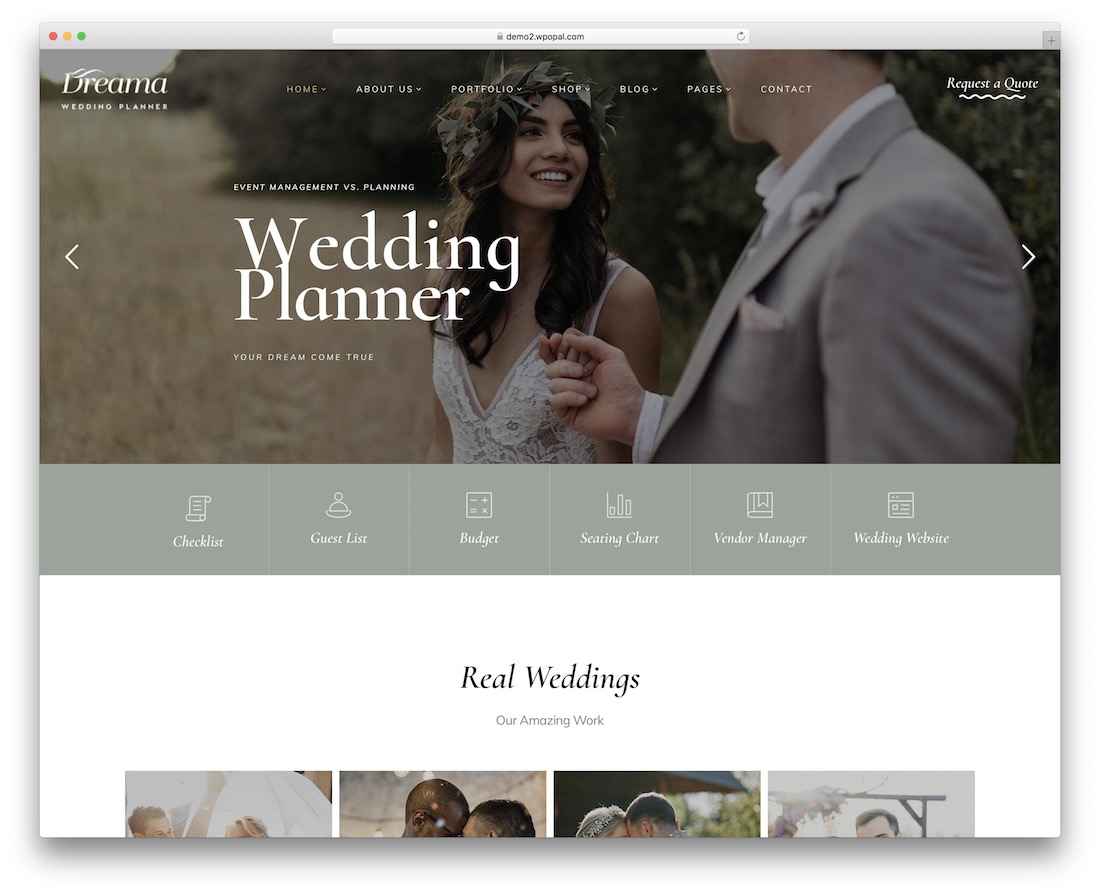 dreama wedding planner wordpress theme