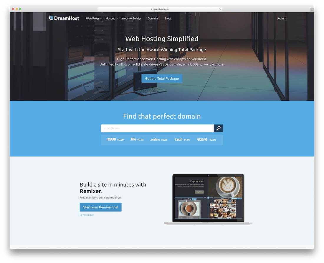 dreamhost web hosting for personal website