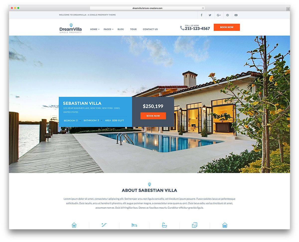Superior Dreamvilla Simple Real Estate Wordpress Website Template