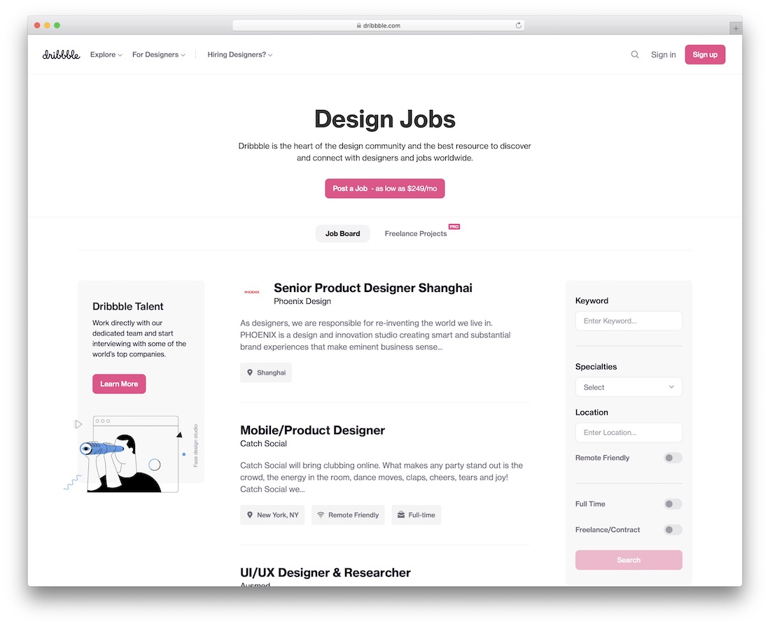 dribbble freelance marketplace