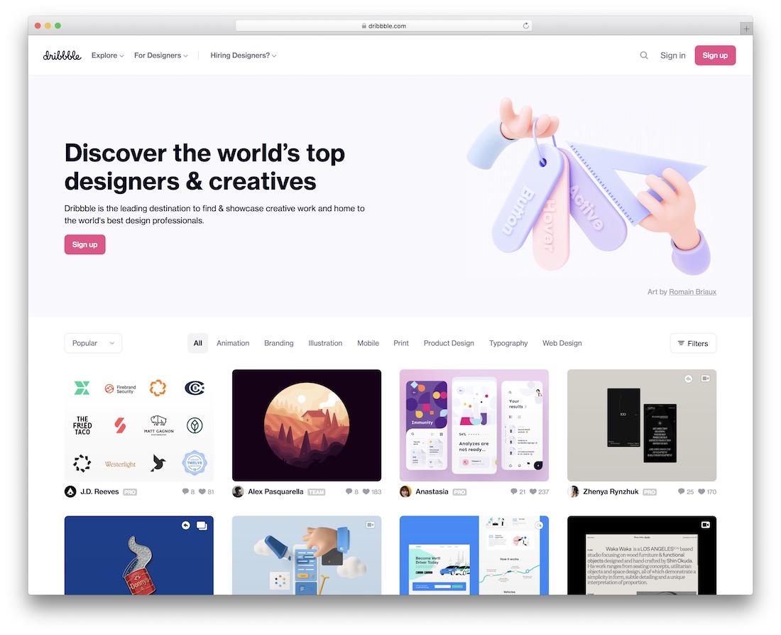 dribbble the best designs and creatives website inspiration