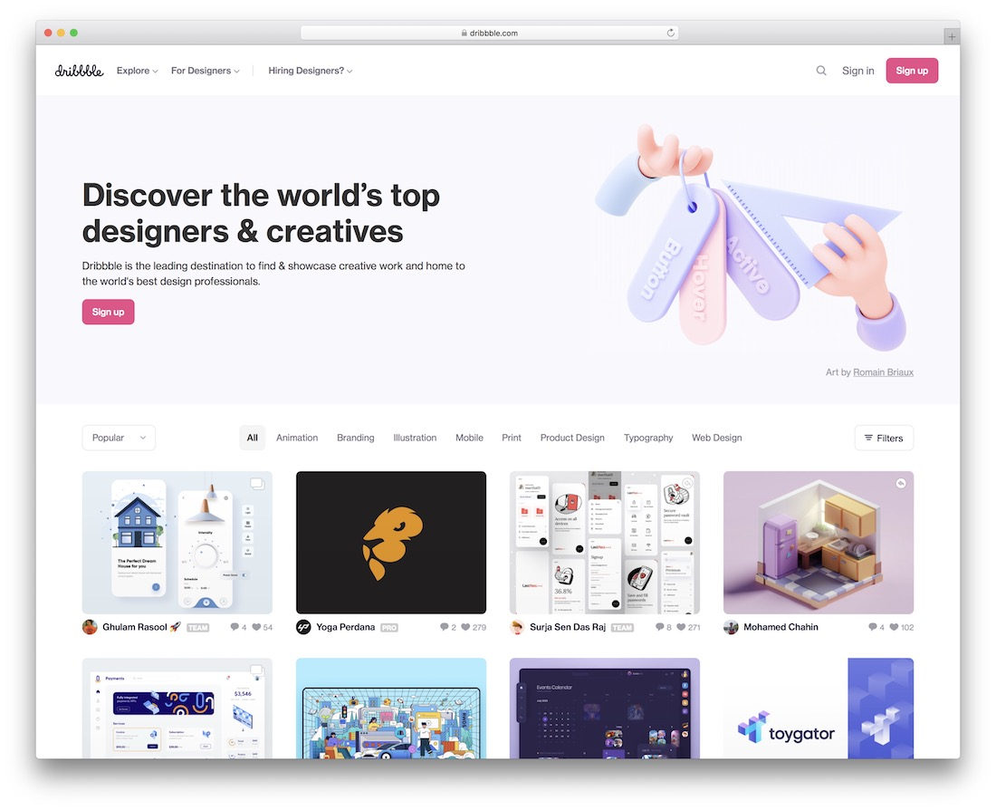 dribbble tool for discovering graphic designers
