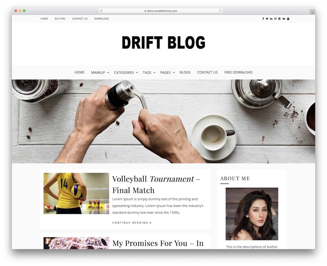 drift blog free simple wordpress theme