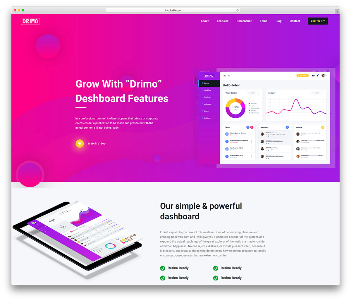 Drimo Is A Very Original Free Bootstrap Landing Page Website Template With Sophisticated And Contemporary Expression Furthermore It Large Tool