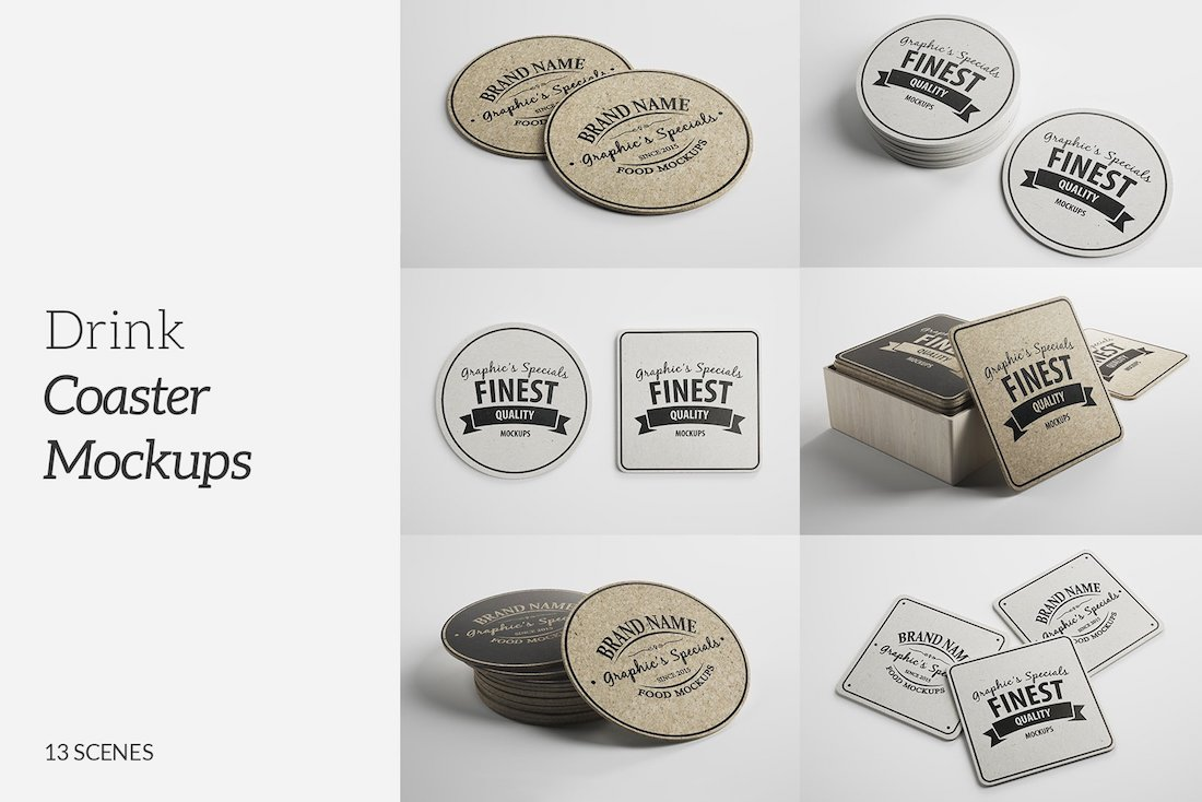 drink coaster mockups pack