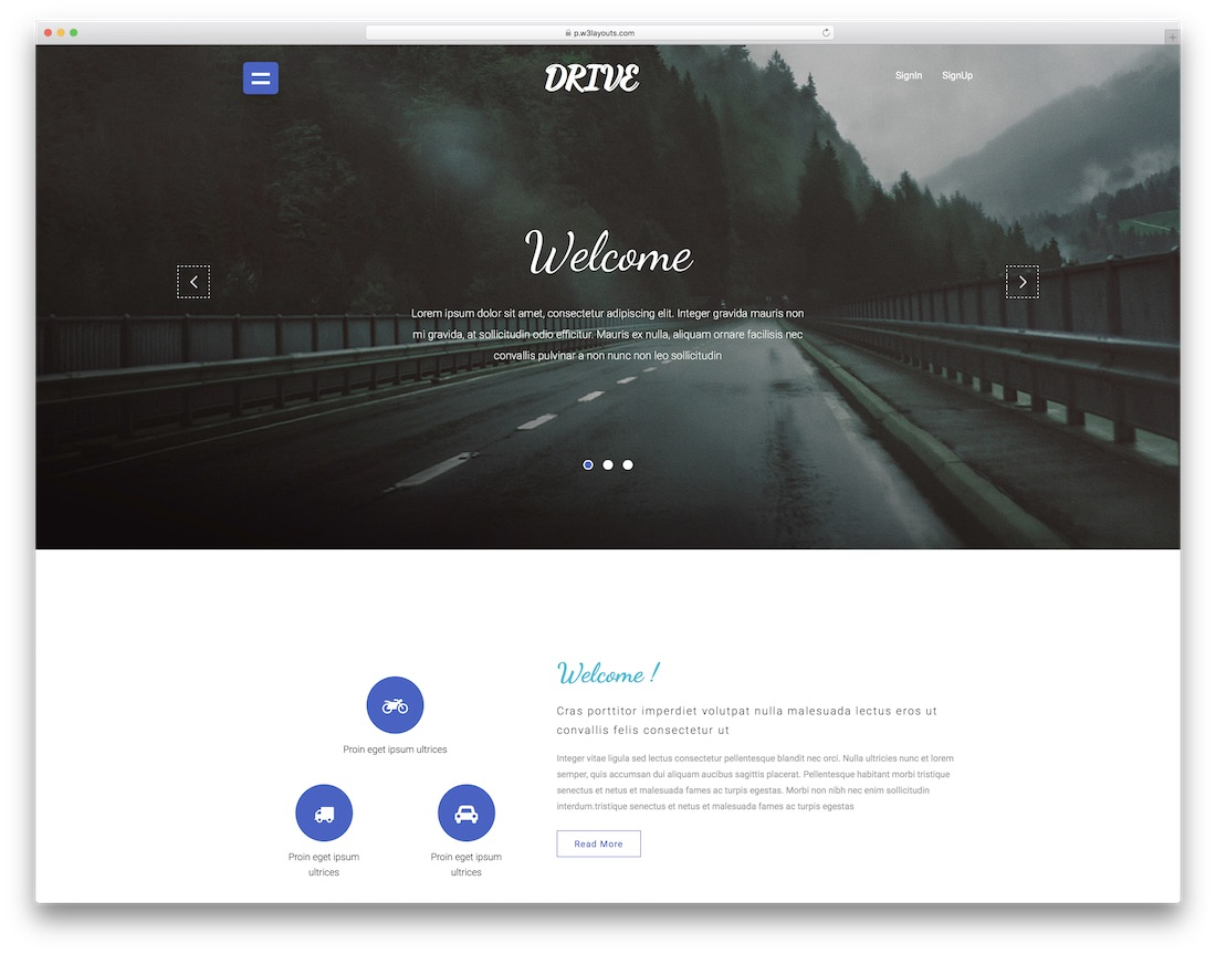 drive website template