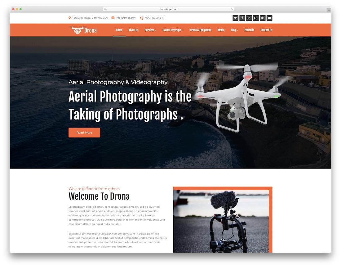 drona video website template