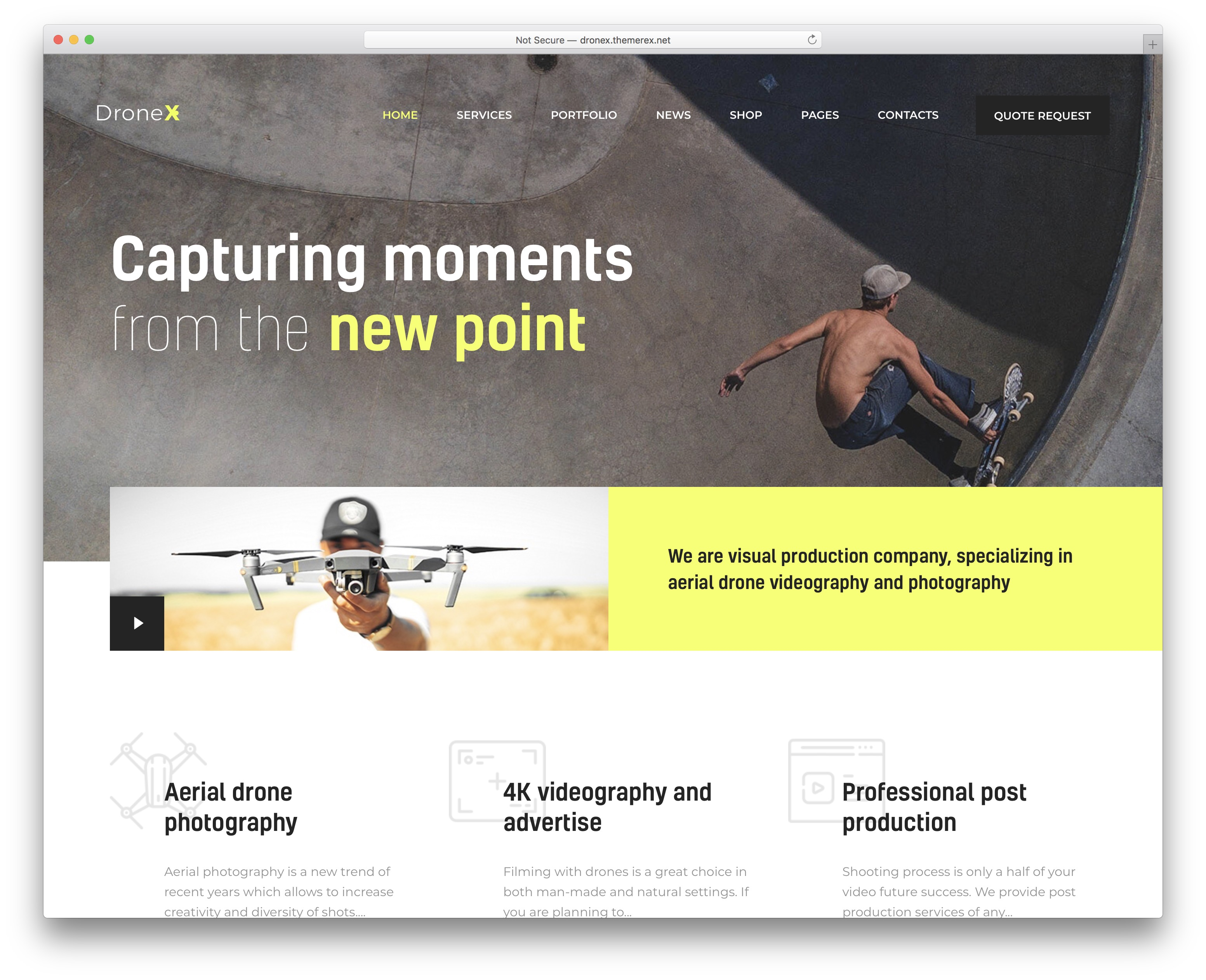 dronex video website template
