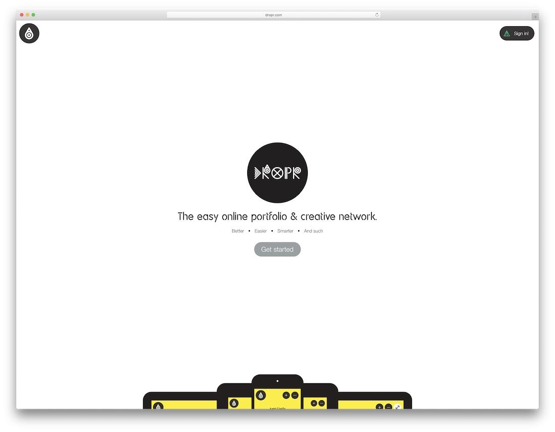 dropr free portfolio website builder