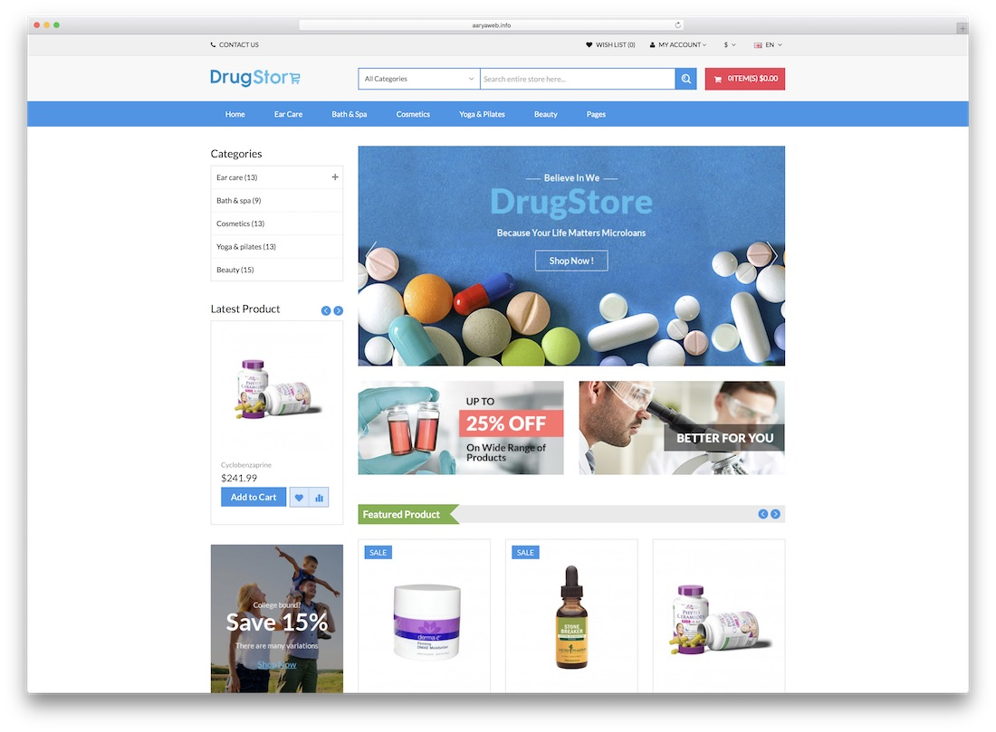 drug store opencart theme