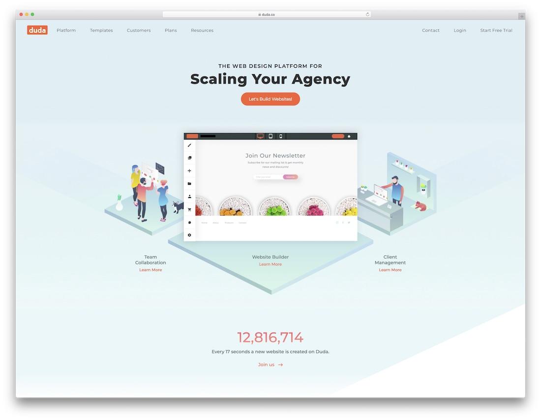duda drag and drop website builder