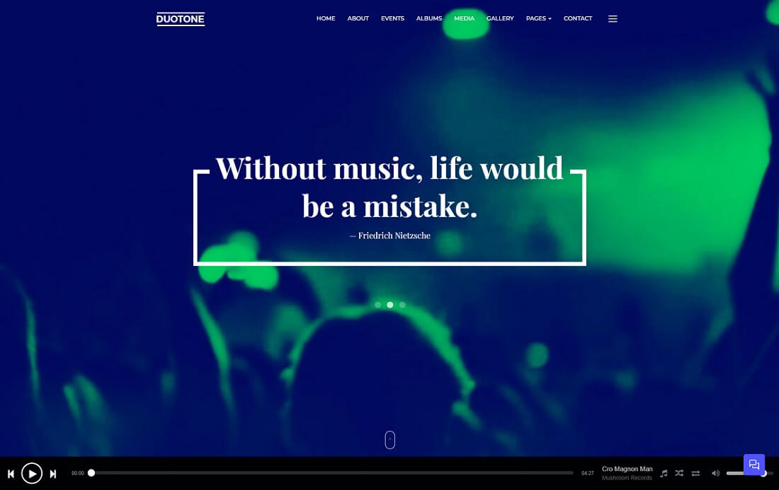duotone musician website template