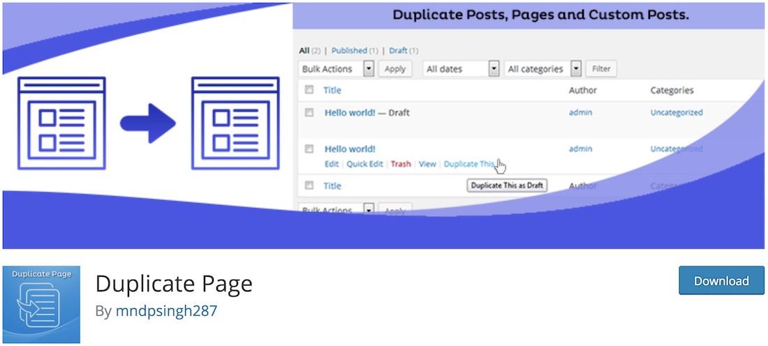 duplicate page wordpresss plugin