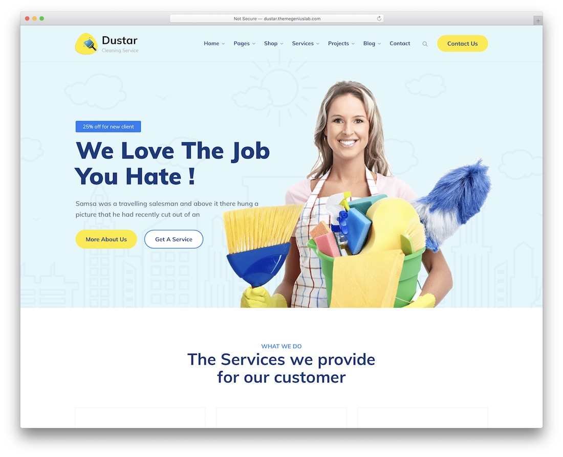 dustar cleaning company theme