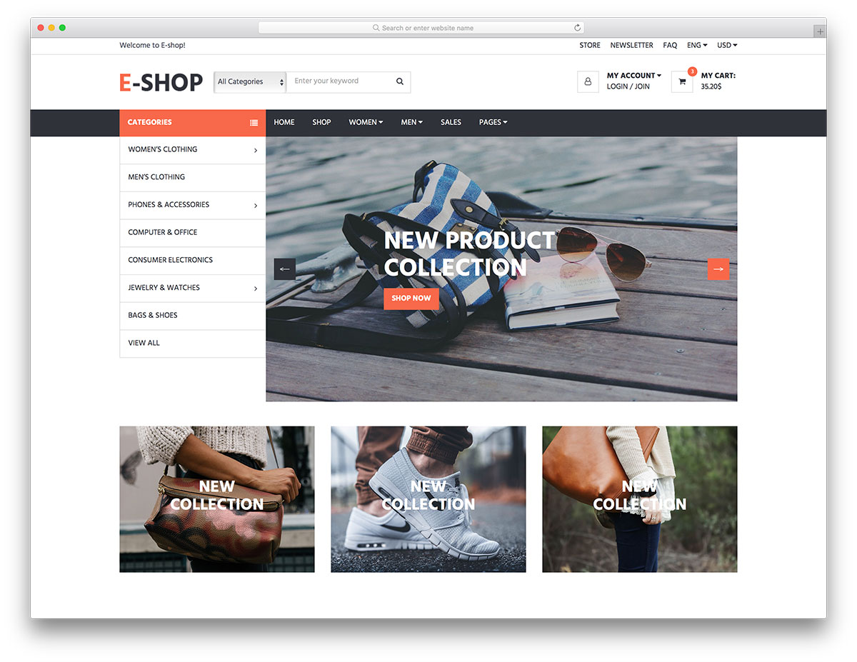 e shop is yet another outstanding free ecommerce website template made by colorlib it follows all the latest trends practices the newest technologies and