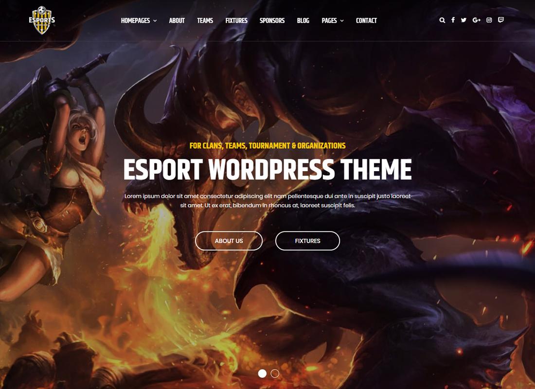 eSport - Gaming WordPress Theme