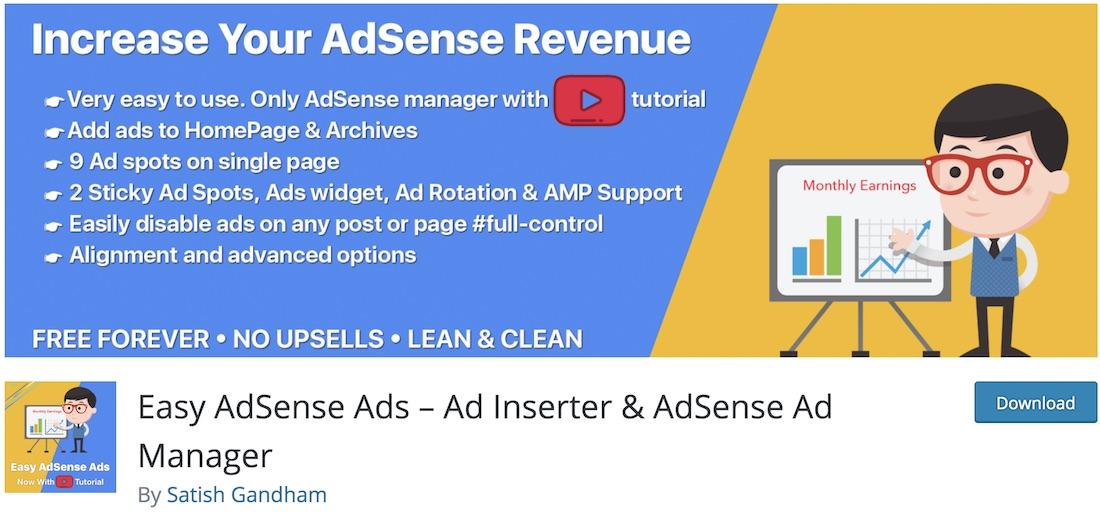 easy adsense ads free wordpress plugin