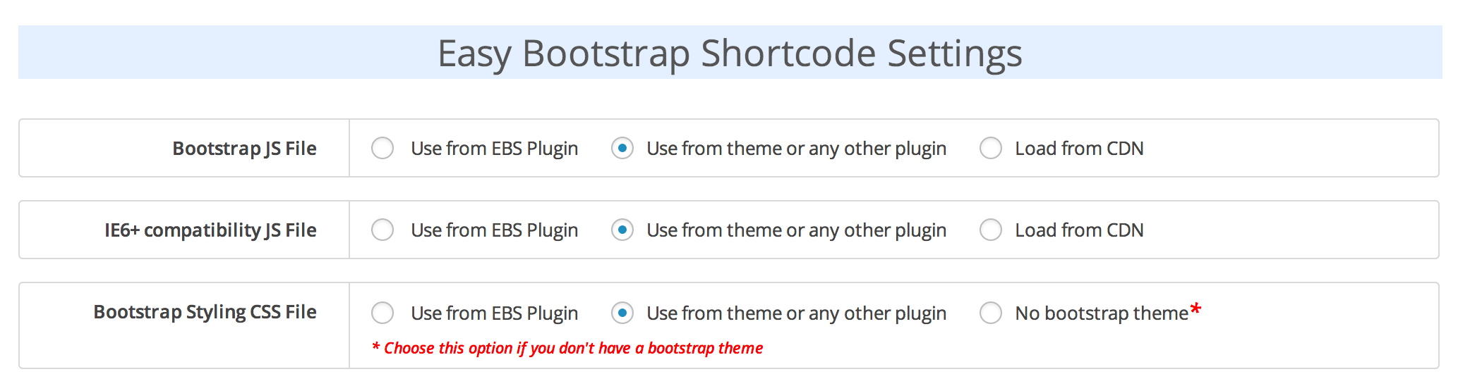 Easy Bootstrap Plugin configuration