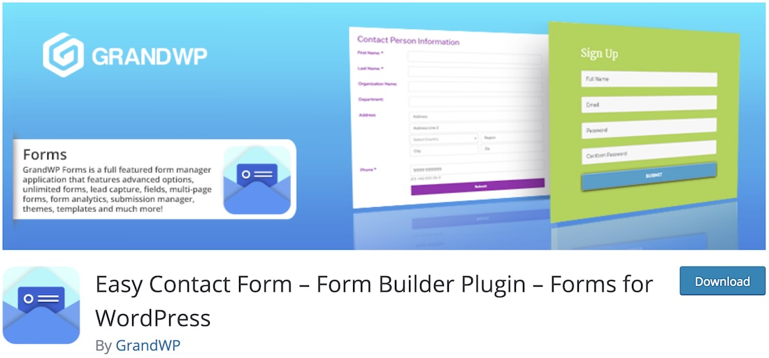 easy contact form plugin